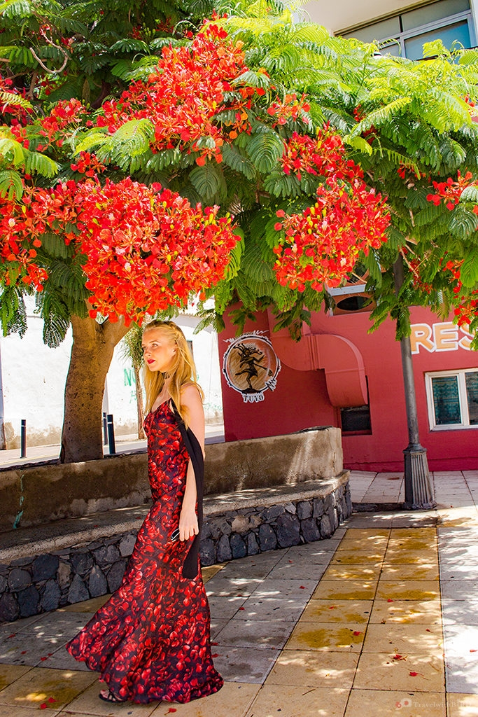 Red Dress and red flowers: Perfect Match