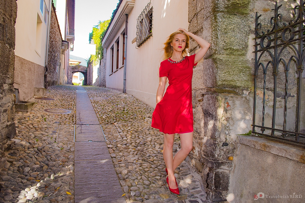 Red dressed lady in Ascona