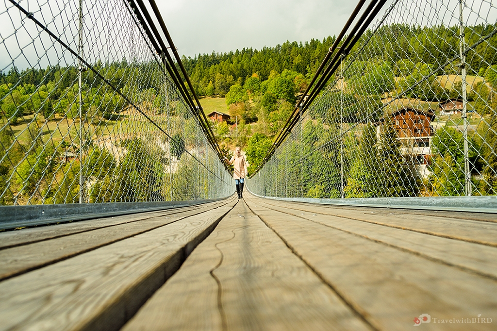 Walking over the pendant bridge