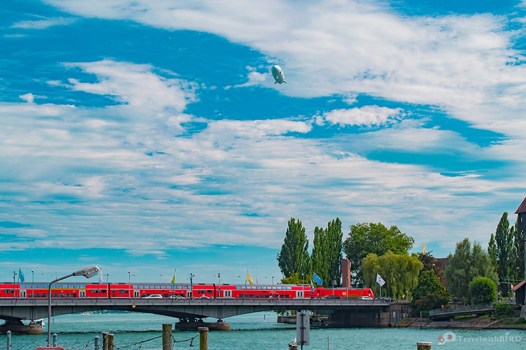 Zeppelin and train in Constance