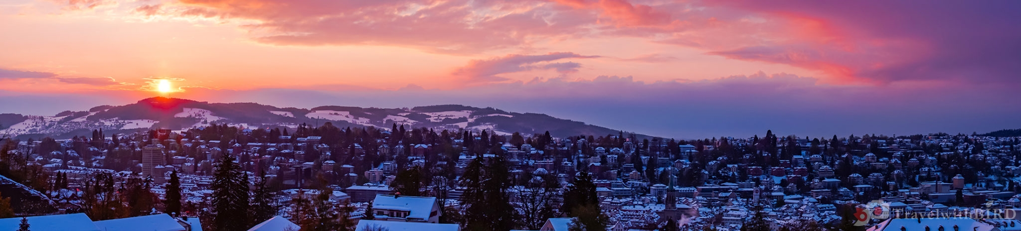 Panorama sunset over St Gallen