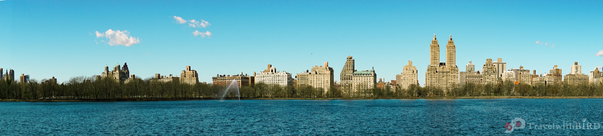 Panorama view over the big lake in Central Park