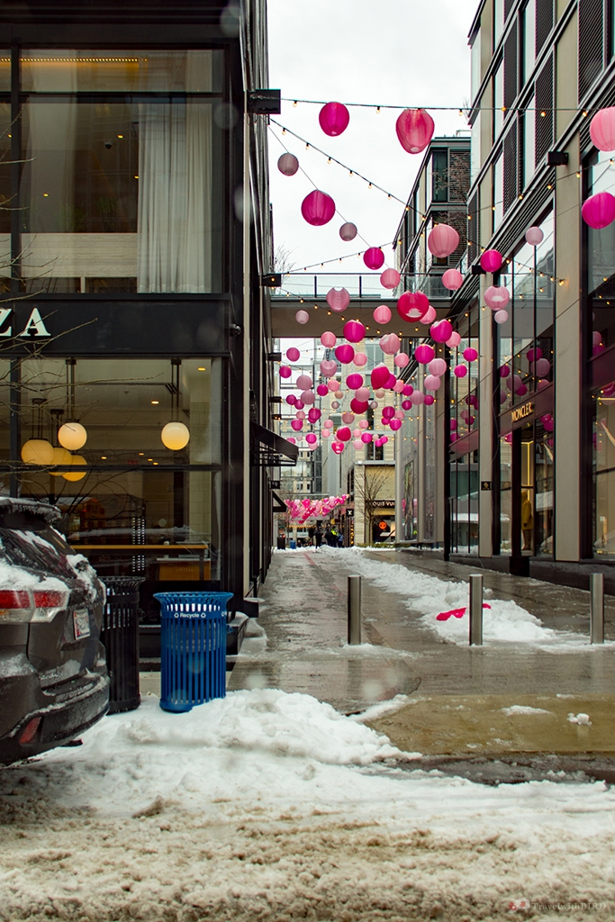 Pink bubbles and snow