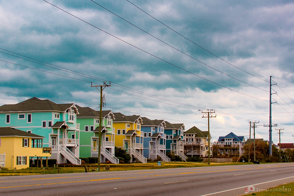 Colourful houses on Outer Banks