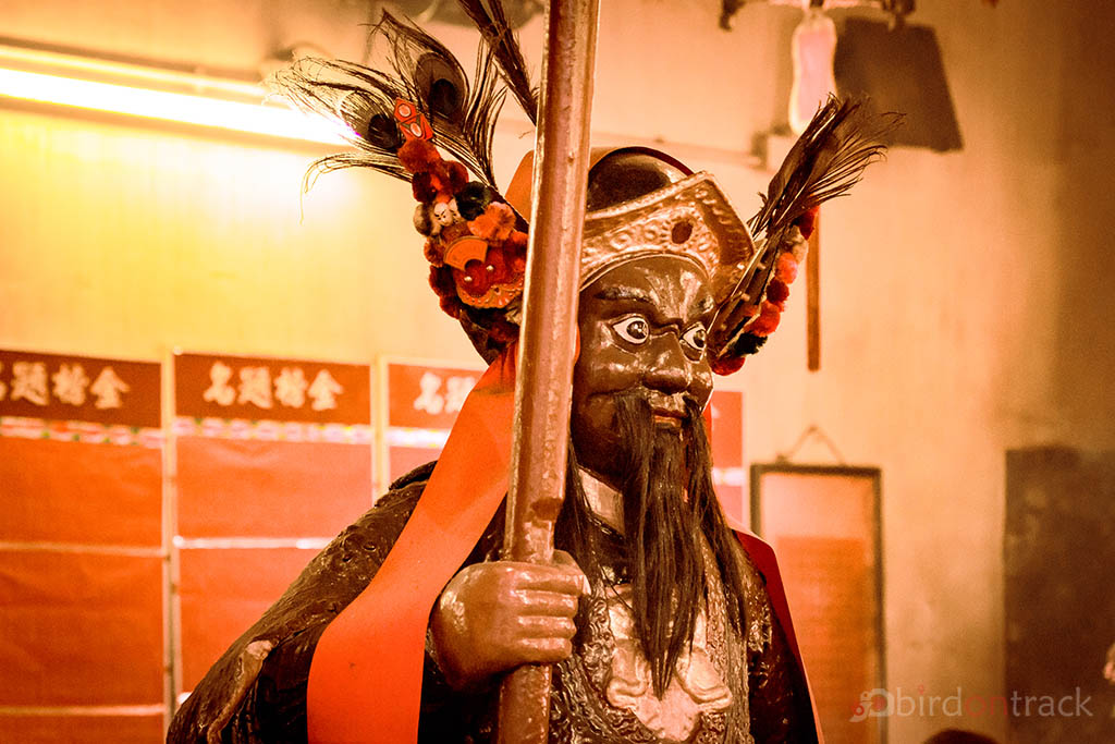 A Warrior statue in the Man Mo Temple