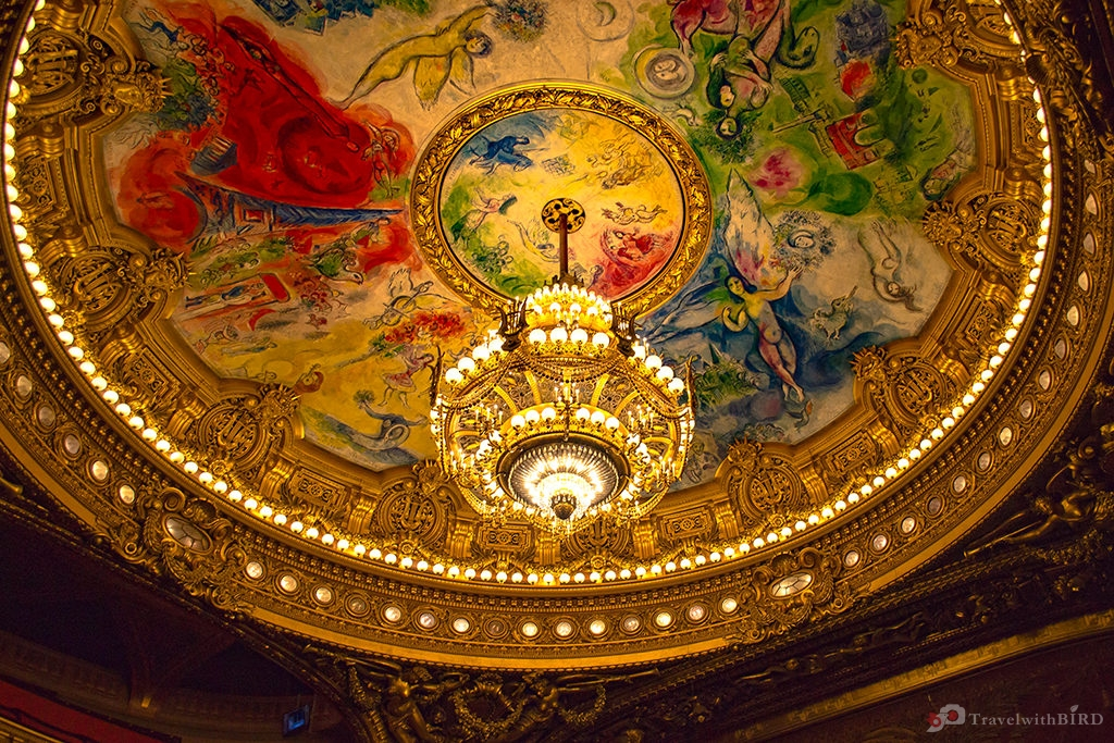 Chandelier Chagall in Theater room of the Opera Garnier
