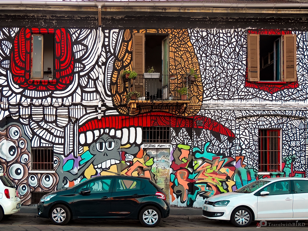Colourful street art in Milano