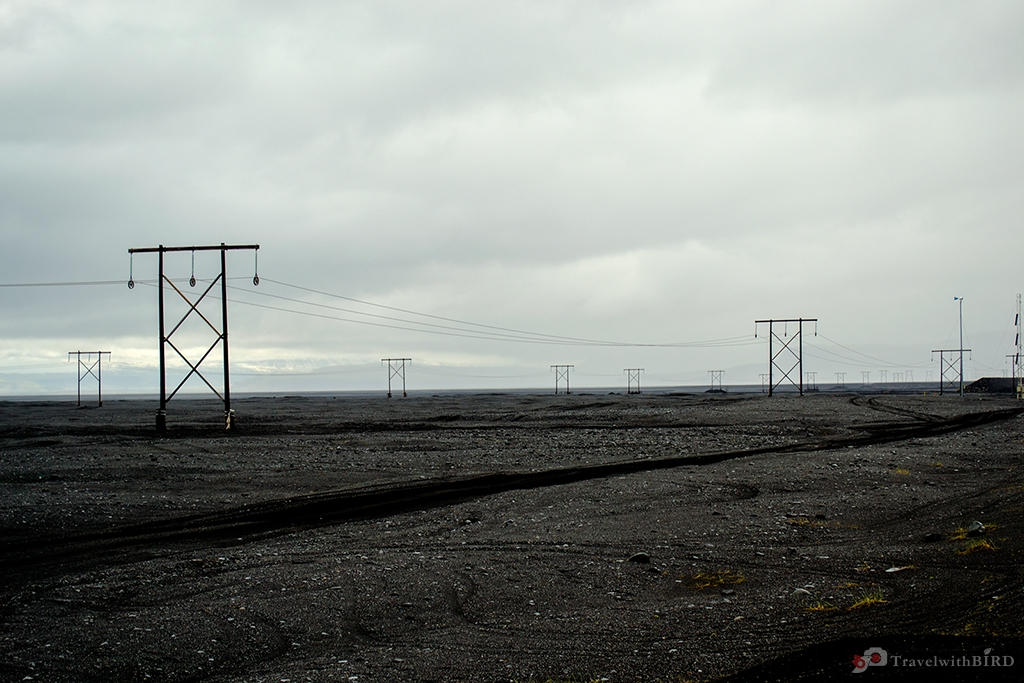 Electricity pylons in South Iceland