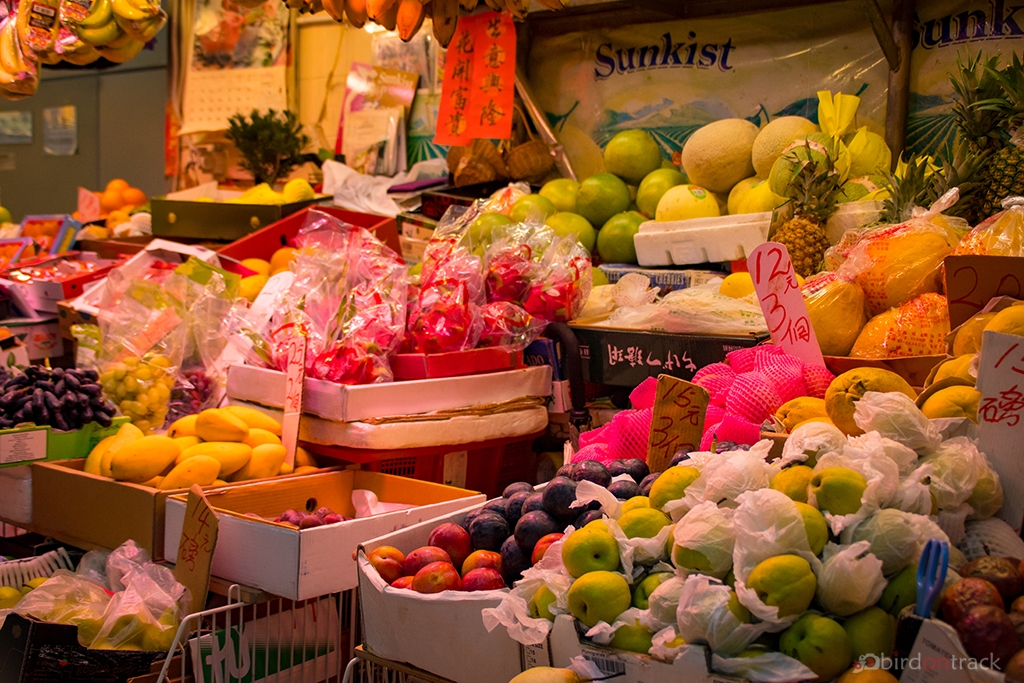 Fresh fruits on Food Market in Wanchai District
