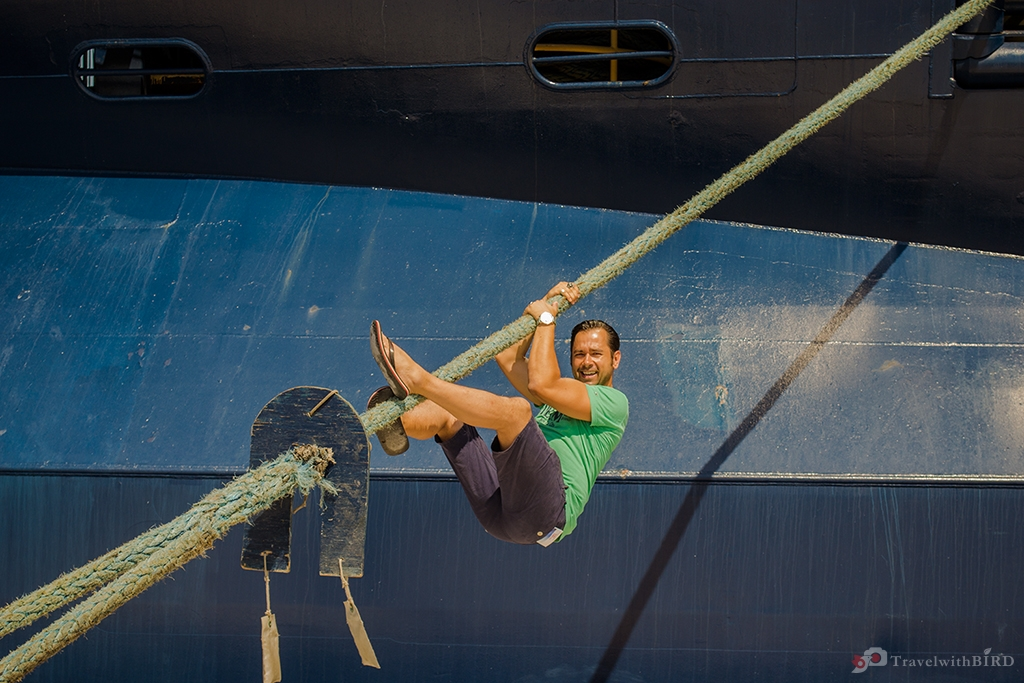 Hanging on a rope of Mein Schiff 2