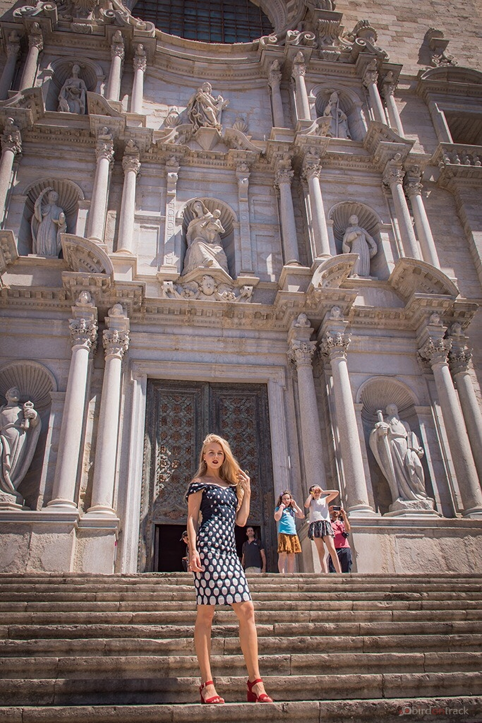 In front of the Cathedral Girona
