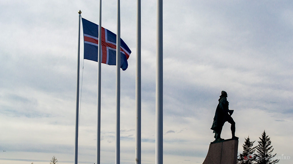 Iceland Flag and Statue of Leiff Eriksson