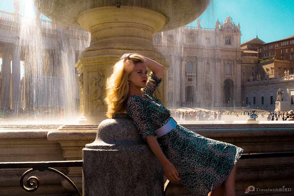 Laying at Fountain on Piazza San Pietro